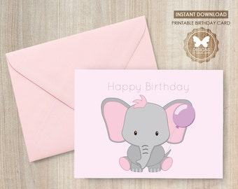 Birthday Card, Printable Birthday Card, Elephant Birthday Card, Children's Birthday Card, Printable Elephant Birthday Card