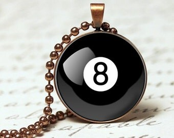 8 Ball billiard ball pendant necklace, pool ball pendant
