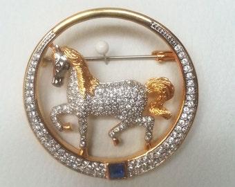 Brooch, Multicolor Brooch, Horse Brooch ,Enamel metal brooch, Vintage Brooch, Elegant Style Brooch, BUTLER BROOCH