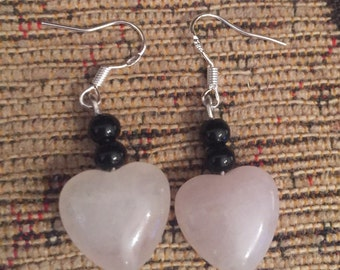 Rose quartz pink heart silver dangly earrings