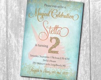 Unicorn birthday invitation, unicorn invitation, magical unicorn, Unicorn Pink, girl birthday invitation, pink, gold/Wording can be changed