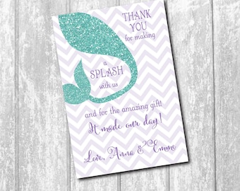 Mermaid Thank you Note, Mermaid Birthday Note, notecard, under the sea, custom, mermaid party, mermaid tail/printable/Digital File/any size