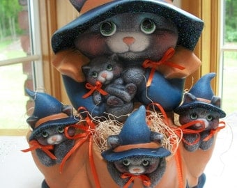 Ceramic Witch Kitty,and kittens Halloween decoration