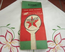 Texaco Texas Road Map Vintage 1950's Rare Texas Map Promotional Collectible Souvenir