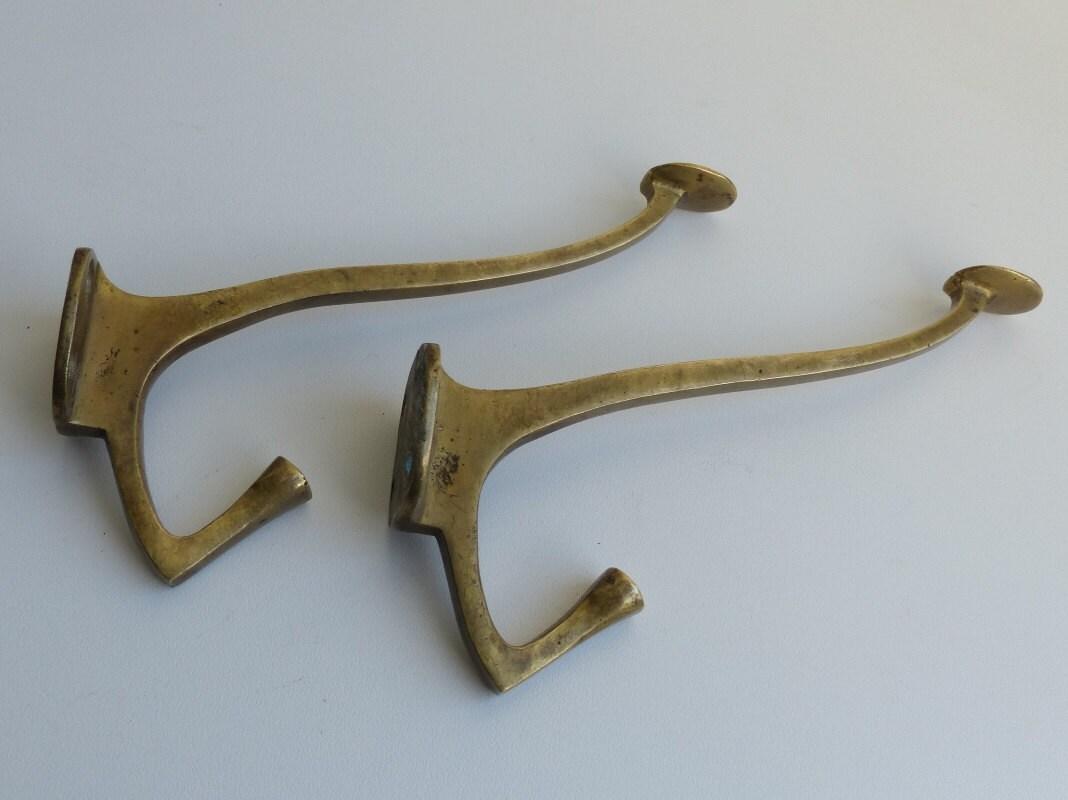 Antique brass wall hangers art deco coat hooks vintage for Artistic coat hooks