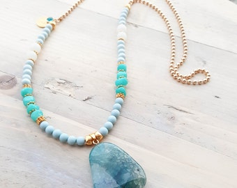 Natural stone necklace, Blue necklace, Green necklace, Pendant necklace, Wooden necklace, Gold necklace, Ball chain necklace, Necklace, Gift