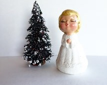 Vintage Kissing Christmas Angel, Hand Painted Snowy Christmas Kissing Angel