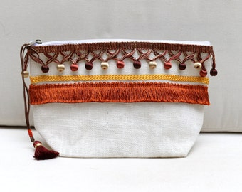Pom Poms Travel Organizer, Cosmetic Bag, Zipper Pouch, Make Up Bag, Purse Organizer, Bridesmaid Gift, Free Shipping
