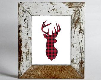 Rustic Deer Buffalo Plaid Printable | Log Cabin | Printable Art 8x10 | Lumber Jack