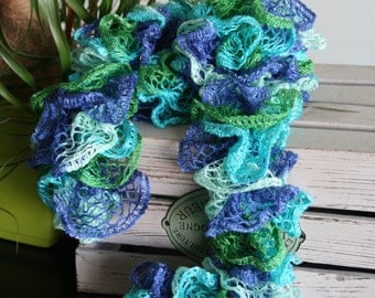 Bright Blue, Green and Teal Lace Ruffle Scarf