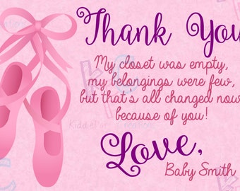 "Pink Ballerina Baby Shower  4""x6"" Printable Thank You Card {Digital File Only}"