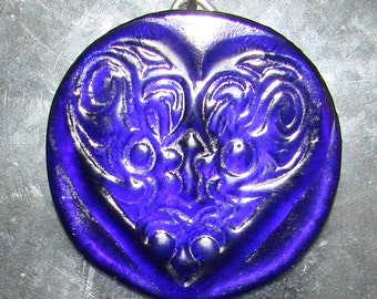 Cobalt Blue Heart Bottle Bottom Recycled Up-Cycled Sun Catcher Christmas Ornament