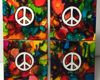 Psychedelic Peace Sign Ceramic Tile Coasters - Set of 4
