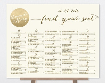 Alphabetical Seating Chart Sign DIY / Gold Sparkle Wedding Sign / Metallic Gold and Cream Sign ▷ Printable File {or} Printed & Shipped