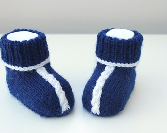 Baby Slippers Blue Baby Booties, Navy Booties, Boys Booties Woollen Booties, Knitted Shoes, Hand Knit Booties Funky Booties Blue Crib Shoes