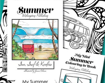 Adult Colouring in Book - Summer, Sun Surf and Kombis