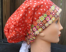 Beautiful and Comfortable Scrub or Chemo Cap for Women Tangerine Leaf Pattern and Geometric Border