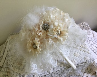 Fabric Flower Bouquet - Wedding - Brooch - Bridal - Jewelry - Vintage - Bridesmaid,Fabric Flower,Lace,Pearls, Treasured Keepsake