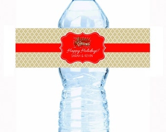 """Personalized Merry Christmas Water Bottle Labels - Select the quantity you need below in the """"Pricing & Quantity"""" option tab"""