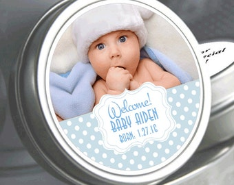 """12 Personalized Sweet Dots Baby Shower Photo Mint Tins  - Click on the """"Pricing & Quantity"""" tab to select exactly what you need."""