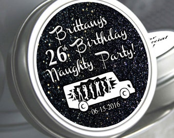 12 Birthday Party Favors, Birthday Mint Tins, Milestone Birthday Favors, Fun Birthday Favors, Personalized Mints, Naughty Party