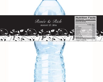 30 Wedding Water Bottle Labels - Custom Color Labels - Wedding Bottle Labels - Wedding Decor - Self Adhesive Waterproof Wedding Labels