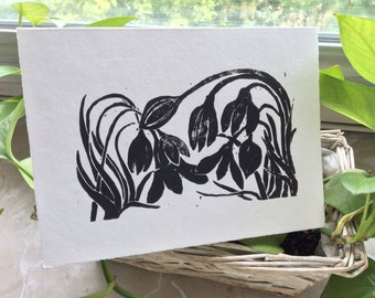 Snowdrop spring Linocut card with blank inside