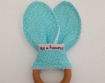 Aqua Marine Teething Ring / Leaves / Vines / Blue / Green / Aqua / Turquoise / Baby Girl / Organic Maple / Natural