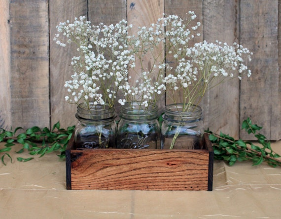 Wood crate centerpiece wedding with