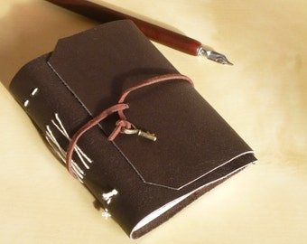 SALE! Leather wrap hand bound pocket notebook, bullet journal, travel journal, brown leather with heart key charm
