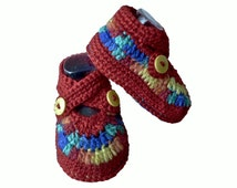 Unisex Baby Crochet Shoes, Infant Plimsolls Sneakers Trainers, Boys Booties, Baby Girl Crib Shoes Slippers, 6-9 months BURGUNDY YELLOW BLUE