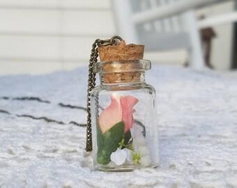 Pink Rose Bottle Necklace