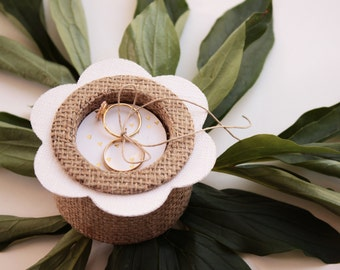 Fashion flower, burlap and white linen wedding ring pillow, country style.