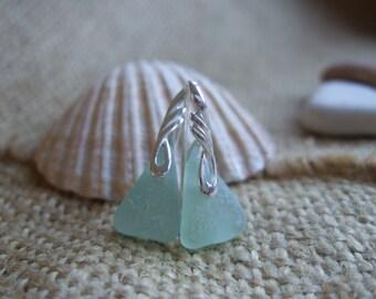 ANGEL WINGS...Scottish sea glass sterling silver elegant earrings with sea foam sea glass, sterling silver and Scottish sea glass earrings