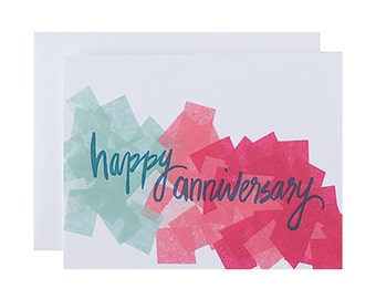"Letterpress Anniversary Card, ""Happy Anniversary"", Hand Lettering, Modern"