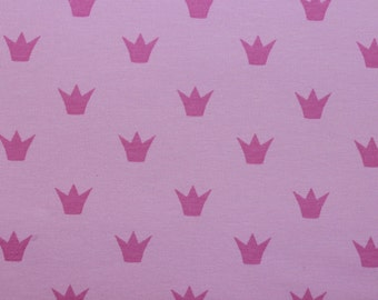 Pink Crown Print Cotton Jersey Fabric, Extra Wide Jersey Knit Fabric- Half Metre
