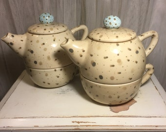 "Robins Egg Speckled ""Tea For Two"" Set of Two Stacking Teapots & Cups"