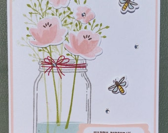 Handmade Happy Birthday Card, STAMPIN' UP! Jar Of Love