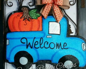 Vintage Style Truck with Pumpkin. Burlap Door Hanger