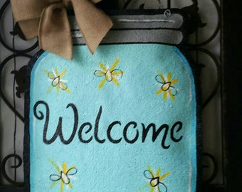 Mason Jar Burlap Door Hanger Decoration and Wreath Replacement