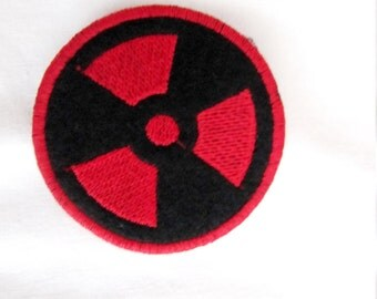 NUCLEAR  PATCH embroidered Sew On zombie symbol warning sign red
