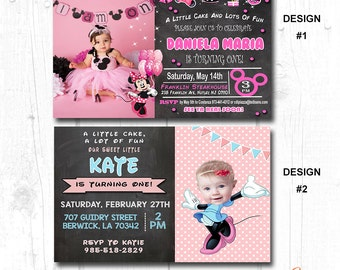 first birthday girl minnie mouse, minnie mouse 1 personalised invitation, first birthday minnie mouse invites