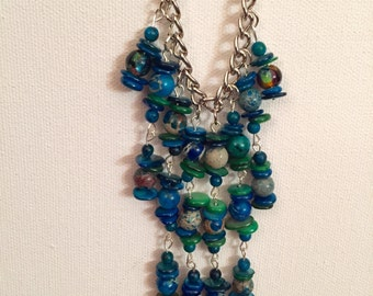Earth pieces layer necklace