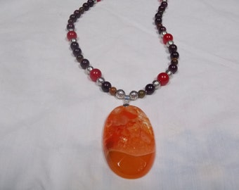 Beaded necklace,hand made, one of a kind Crystal Agate Druzy