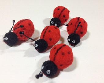 5 Red Ladybugs 1.4x1.4 Inches Artificial ladybugs  fake Ladybug Scrapbooking Craft Supplies Embellishments Card Making
