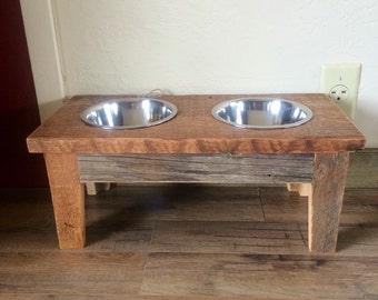 Reclaimed Barn Wood Elevated Dog Feeder