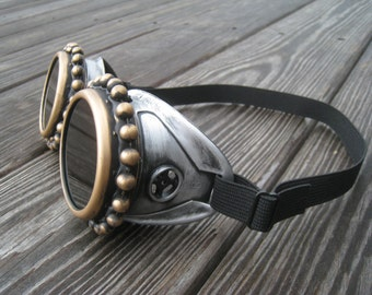 Steampunk Goggles -Victorian Gold goggles- With Necklace-Choose Your Style- -Burning Man - Welding Goggles glasses