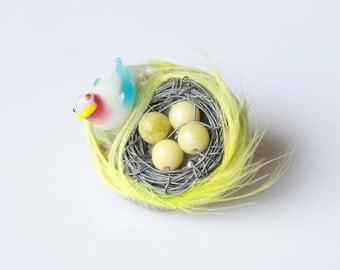 Bird Nest Brooch
