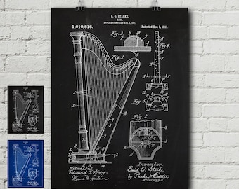 Harp 1911 Patent Print - Instrument, Music, Strings, Fender, Gibson, Les Paul, Vintage, Blueprint, Wall Decor, Wall art, Cool Gift!