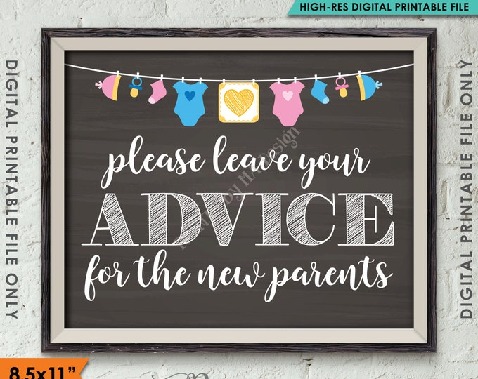 """Advice for the New Parents, Your Advice Baby Tips Baby Shower Sign Shower Decor, Instant Download 8x.5x11"""" Chalkboard Style Printable Sign"""